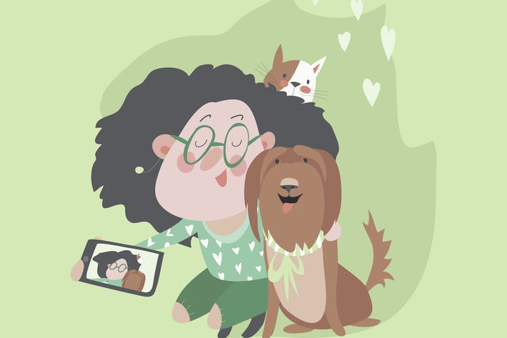 Thumbnail for Cute girl with dog and cat makes selfie. Vector
