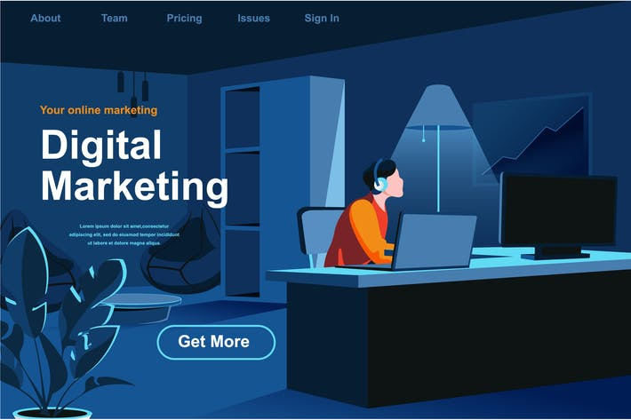 Thumbnail for Digital Marketing Isometric Web Page Flat Concept