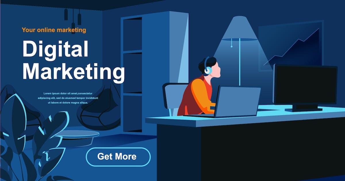 Download Digital Marketing Isometric Web Page Flat Concept by alexdndz