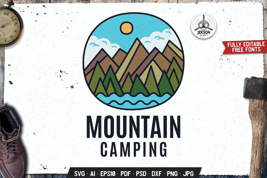 Mountain Camp Emblem Modern Logo SVG. Travel Badge