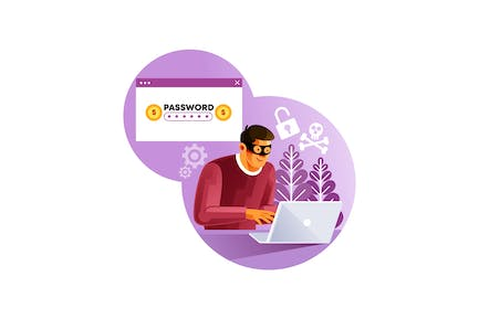 Hacker activity cyber thief on internet device