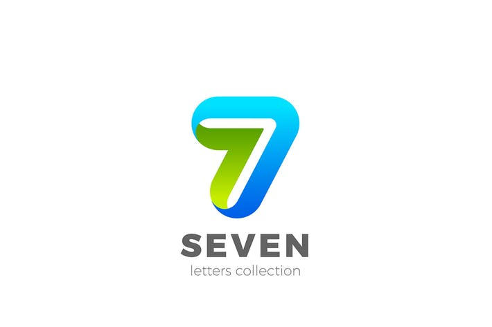 Number 7 Seven design 3D Ribbon style