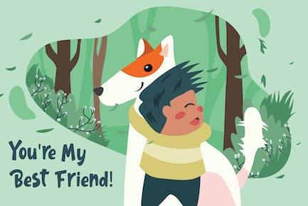 Boy Hugs Dog - Vector Illustration
