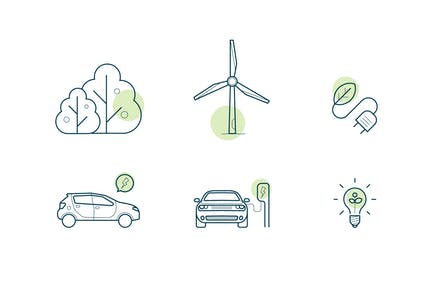 set of icons about green energy and electric cars