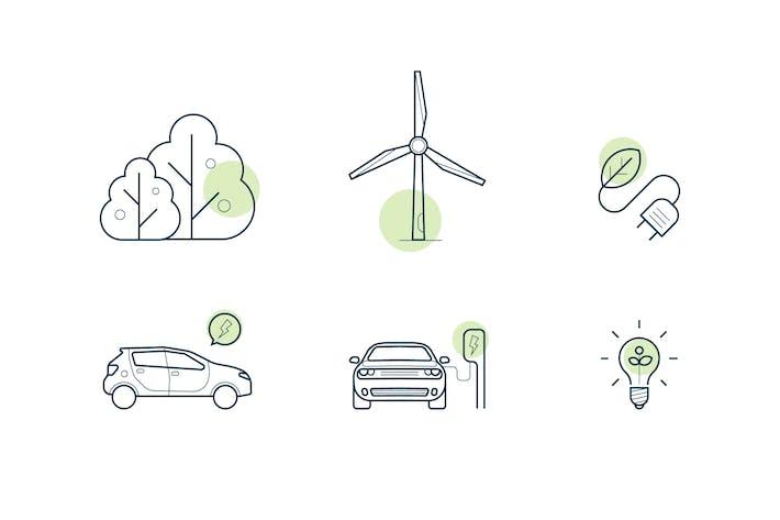 Reihe von Icons über grüne Energie und Elektroautos