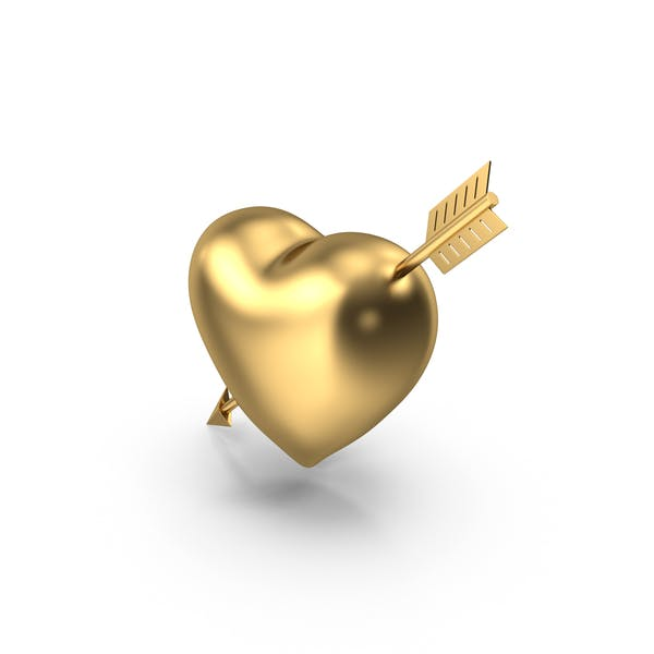 Heart with Arrow Gold