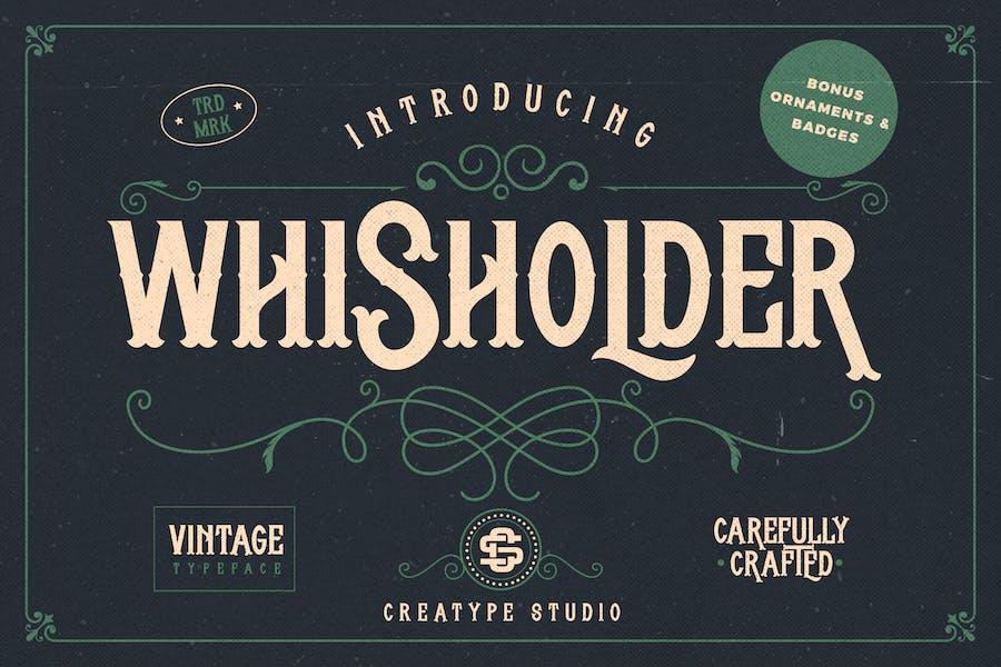 Whisholder Винтаж Ретро Typeface