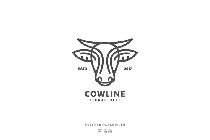 Thumbnail for Cow Line Art Style Logo