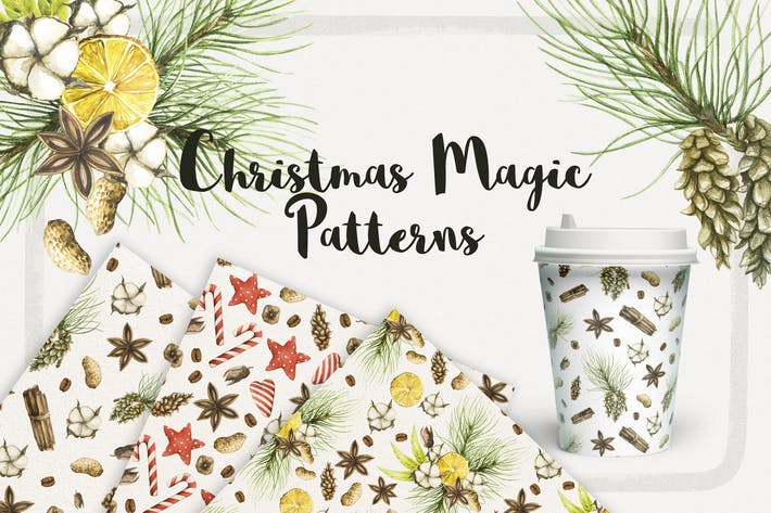 Cover Image For Watercolor Christmas Magic Patterns