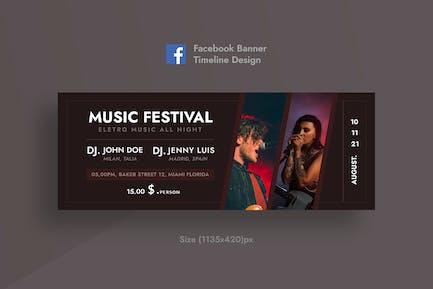 Musikfestival Facebook-Zeitleisten-Abdeckung & Banner