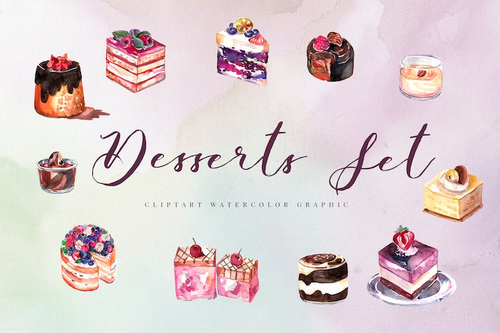 Thumbnail for 12 Watercolor Desserts Illustration Set