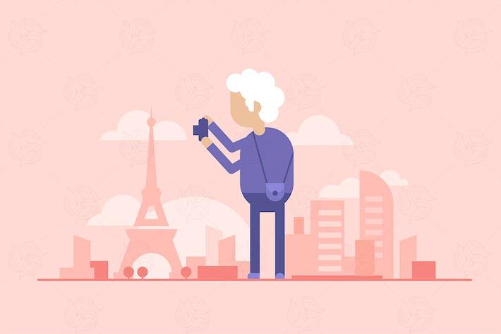 Rentner Touristen - moderne flache Design Illustration