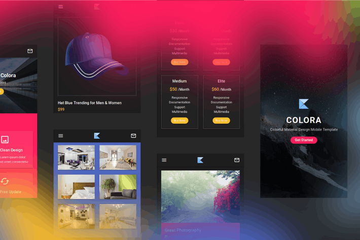 Thumbnail for Colora - Colorful Material Design Mobile Template