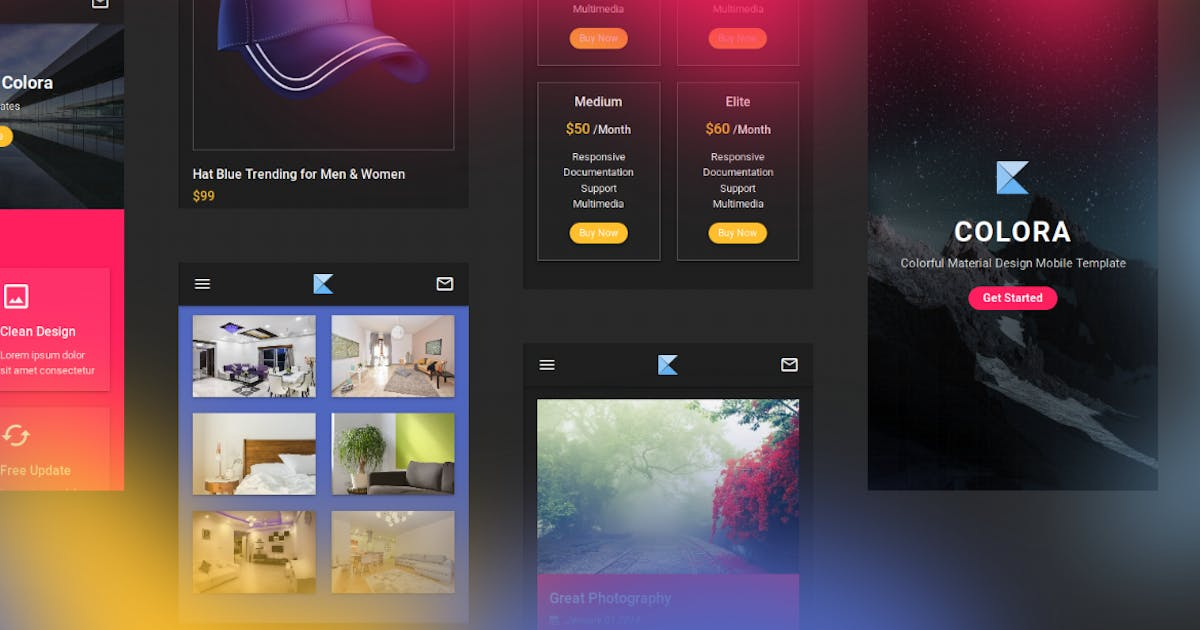 Download Colora - Colorful Material Design Mobile Template by aStylers