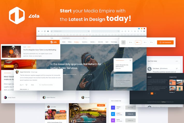 Thumbnail for Zola | Magazine News Blogs PSD Template