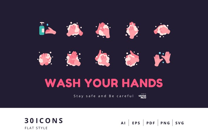Thumbnail for 30 Elements Icon - Wash Your Hands Flat Style