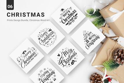 Christmas Printable Set, Merry Christmas Word Art