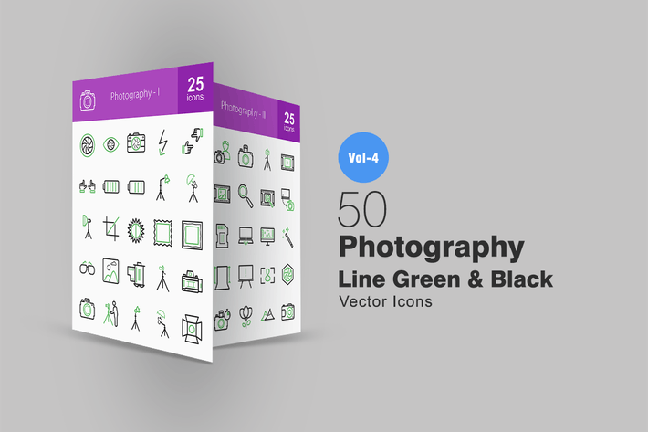 Thumbnail for 50 Photography Line Green & Black Icons
