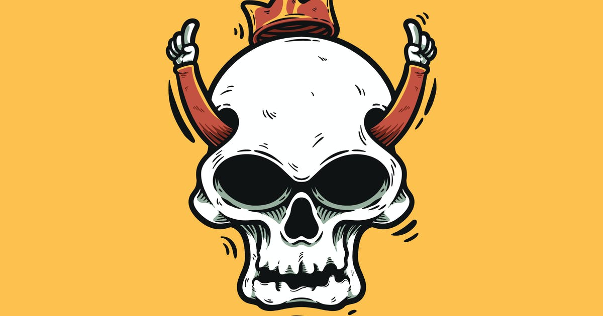 Download Cartoon Skull With Hands And Crown by andhikadsgn