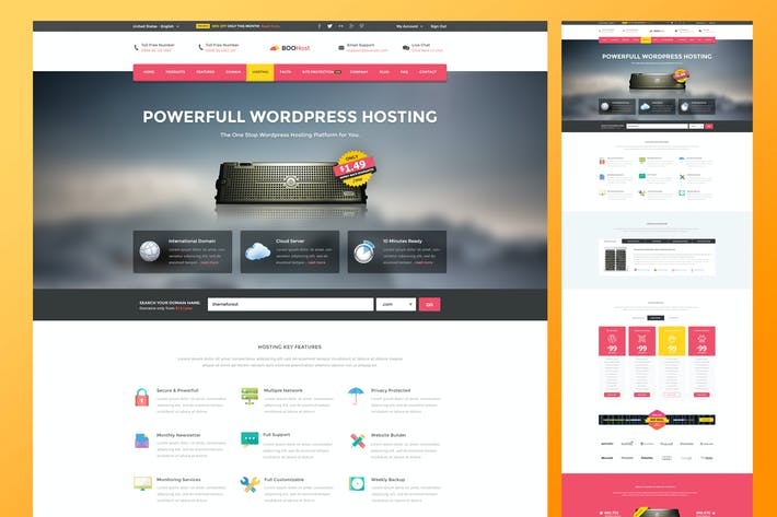 Thumbnail for Web Hosting PSD Template