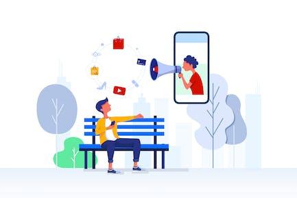 Ilustración de publicidad y marketing digital