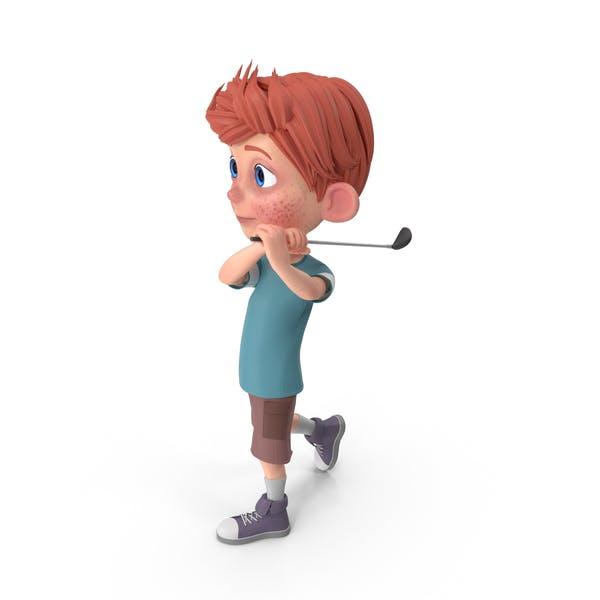 Cartoon Boy Charlie Golfing