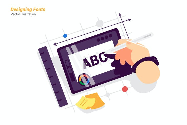 Thumbnail for Designing Fonts - Vector Illustration
