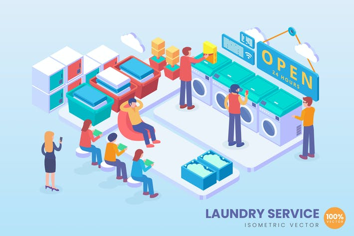 Thumbnail for Isometric Laundry Service Vector Concept