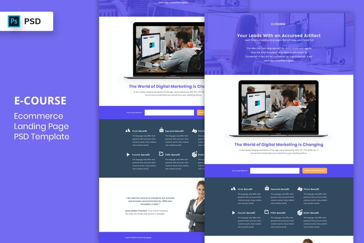Thumbnail for E-Course - Landing Page PSD Template