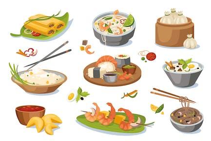 Asian Food Dishes Design Elements Set