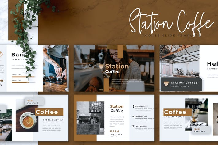 Thumbnail for STATION COFFEE - Coffee Shop Google Slides
