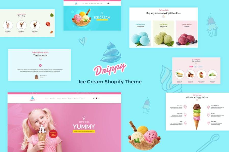 Drippy - Отзывчивый IceCream Shopify Тема