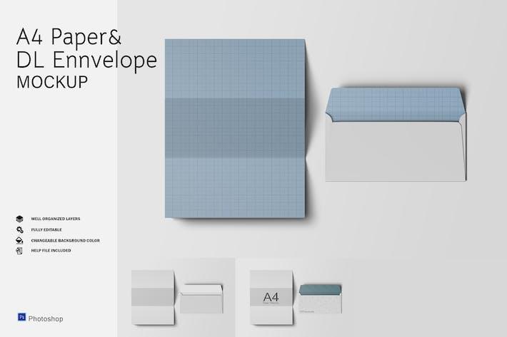 Thumbnail for A4 Paper & DL Envelope Mockup