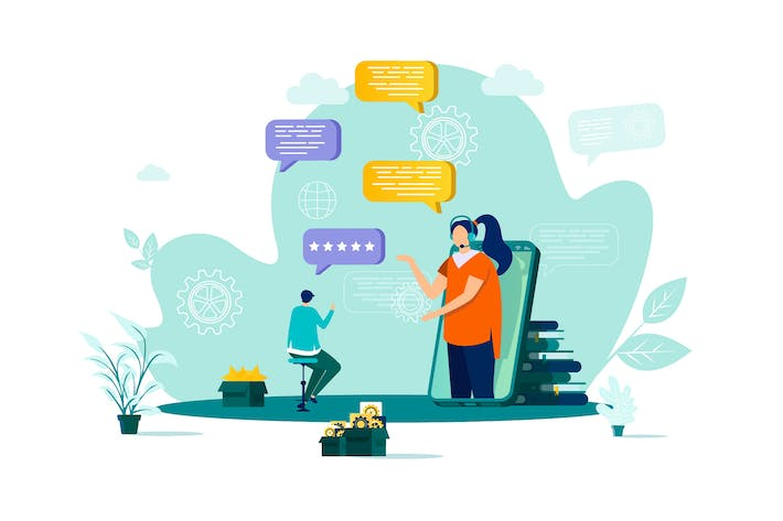 Thumbnail for Customer Support Flat Concept Vector Illustration