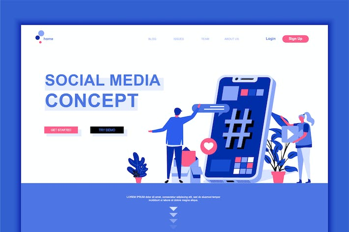 Thumbnail for Social Media Flat Landing Page Template