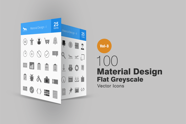 Thumbnail for 100 Material Design Greyscale Icons