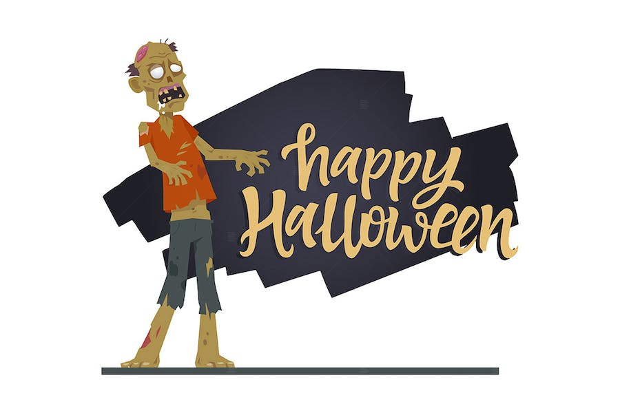 Happy Halloween poster with a cartoon character