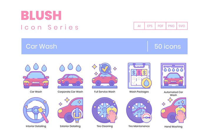 Thumbnail for 50 Car Wash Icons | Blush Series