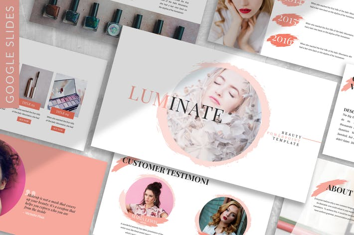 Thumbnail for Luminate - Fashion Beauty Google Slide Plantilla