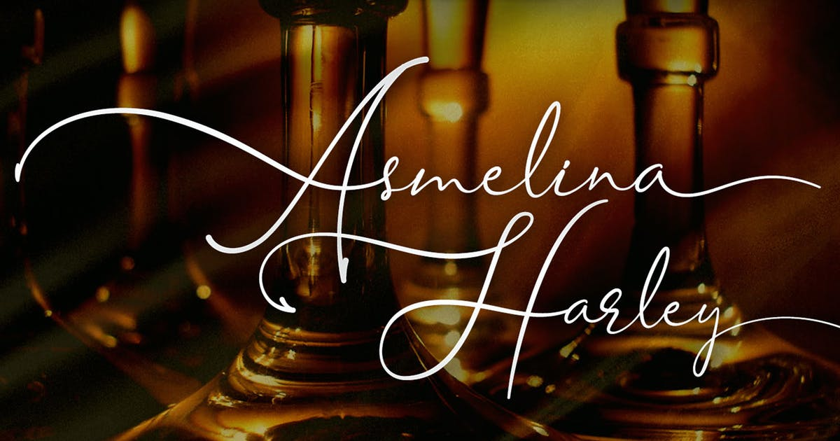 Download Asmelina Harley - Elegant Script Font by kotakkuningstudio