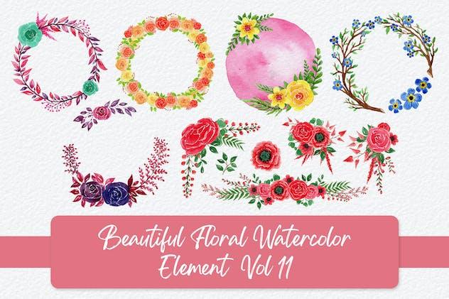 Beautiful Floral Watercolor Elements Vol 11