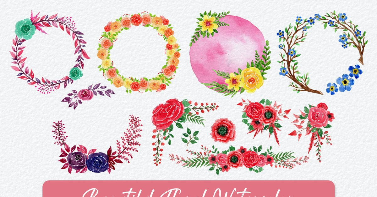 Download Beautiful Floral Watercolor Elements Vol 11 by nathatype