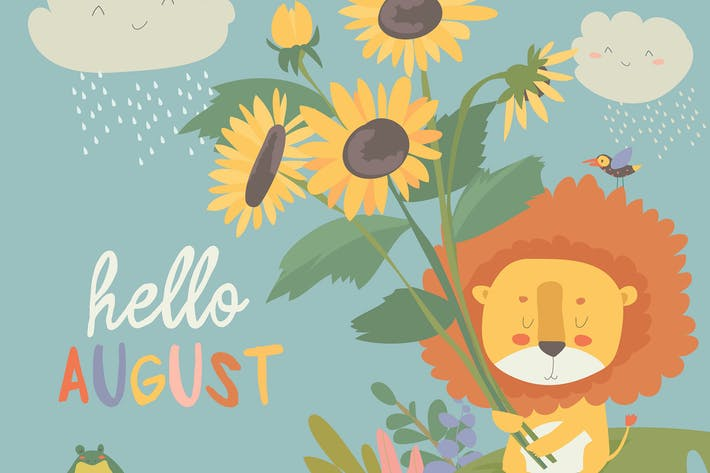 Thumbnail for Cute little lion with sunflowers. Hello, August.