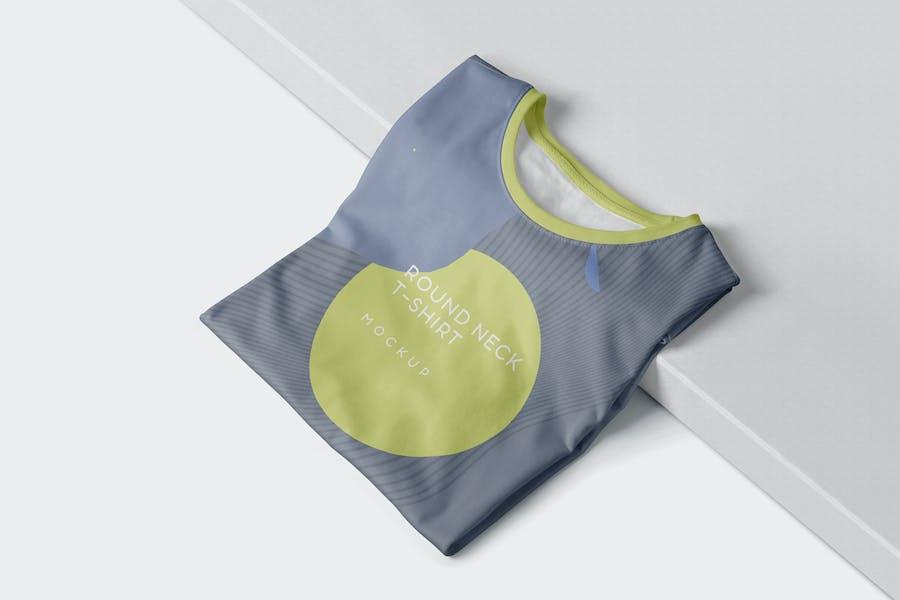 Folded Round-Neck T-Shirts Mockups
