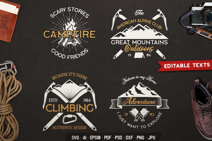 Thumbnail for Outdoors Adventure Logos Set, Retro Camp Badges