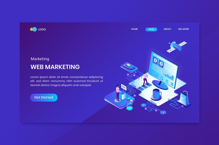 Web Marketing Isometric Concept Landing Page