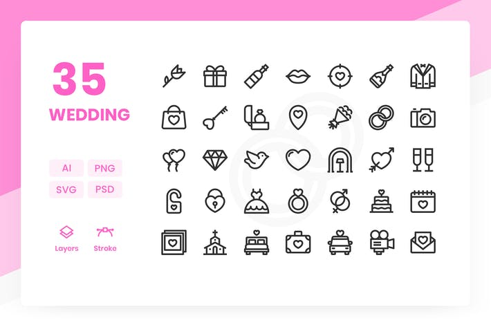 Thumbnail for Wedding - Icons Pack