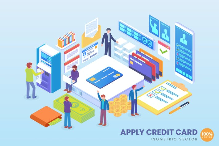 Thumbnail for Isometric Apply Credit Card Vector Concept