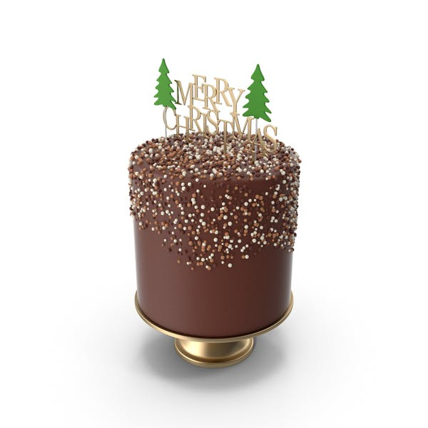 Thumbnail for Christmas Cake with Gold Merry Christmas Topper