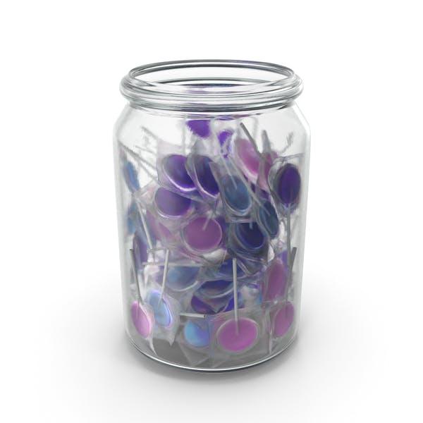 Glas mit eingewickelten flachen Lutscher